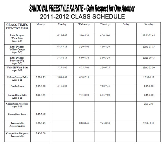 Gilbert, Chandler Family Karate School Schedule